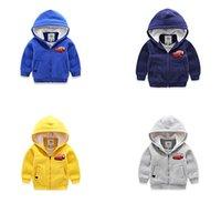 achat en gros de mcqueen veste enfant-Dessin animé Lightning McQueen zip-up garçons hoodie enfant coton veste entièrement borg doublure polaire enfants garder chaud sweatshirt enfants hiver tissu