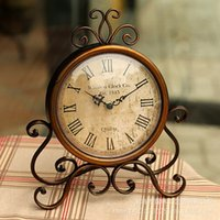 antique shelf clocks - Fetoo Vintage Style Metal Clock Home Shelf Decoration Silent Table Clock Ornament Brown