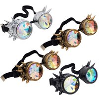 Wholesale Steampunk Goggles Victorian Spiked Rivet Eyewear colors Kaleidoscope Goggles Welding Party Cosplay Mirror Vintage Glasses