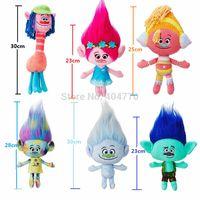 Wholesale 6pcs Movie Trolls Doll Plush Toy Poppy Branch Dream Works Stuffed Cartoon Dolls The Good Luck Trolls Christmas Gifts For Children