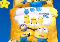 Wholesale Small yellow people bed four pieces of cotton children s cartoon bedding cotton three set sheet