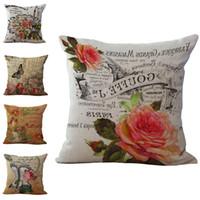 French Paris Seasons Flower Throw Pillow Cases Cushion Cover Pillowcase Linen Cotton Square Pillow Case Pillowslip Home Safa Decor 240482