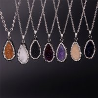 amethyst wine - 6 Colors Available Newest Druzy Amethyst Beads Necklace Oval Blue Champagne Purple White Wine Red Druzy Pave Zircon Crystal Gem Necklace