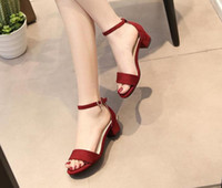 Wholesale 2017 New Hot Sexy Summer Sandals Women Shoes Medium Heels Ankle Strap Microfiber Leather Suede Party Shoes Woman Colors Size