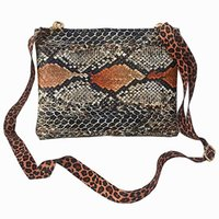 Wholesale 2016 New Fashion Handbags Women Messenger Bags Snakeskin Leather Crossbody Bags Serpentine Leopard Pattern Small Shoulder Bags