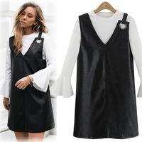 Wholesale Winter on the new Korean version of the Slim v neck strap skirt PU skirt new fall and winter dress female