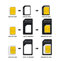Wholesale 4in1 Noosy Nano Sim Card Adapter Micro Sim cards adapter Standard SIM Card Adapter With Eject pin For Iphone samsung LG SONY