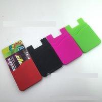 achat en gros de logo d'entreprise cadeaux-Cadeau promotionnel 1 logo couleur avec 3M autocollant silicone double poacket porte-monnaie porte-cartes de crédit porte-cartes de visite pour téléphone cellulaire