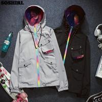 animal ribs - SOSHIRL Galaxy Trench Coat Men Fashion Overcoat Brand Clothing Harajuku Poket Bomber Jacket Hip Hop Windbreaker Grey Black