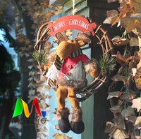Wholesale Mobile Chrismas Trees Decroration Deer Hood Santa Claus Door wreath hanging
