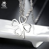 Pendant Necklaces allergy pendant - Simple Love Clover Pendant Necklace Sterling Silver on Layer Platinum Plated Allergy Free Wonderful Necklace ON67