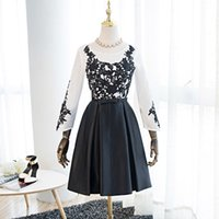 Wholesale 2017 Black and White A Line Graduation Dresses Jewel Bow Sash Long Sleeve Lave up Appliques Sweet Short Prom Gowns