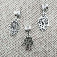 Hamsa collar de mano hallazgo colgante fianza conector pulsera encantos tibet perlas espaciadores de tubo saltar anillos encajar cadenas cuerdas de cuero