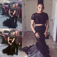 african flowers photos - Sexy Black Two Piece Lace Beaded Prom Dresses abendkleider Sheer Neck African Short Sleeves Luxury Occasion evening Party Gowns