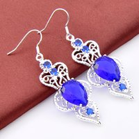Wholesale Best Sell New Design Fashion Earring For Jewelry Making Pueple blue topaz Holiday Jewelry Gift Party Newest Gemstone Earring e0106