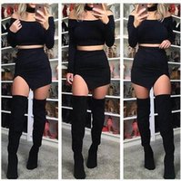Wholesale Casual Mini Skirt Outfits - Sexy Bodycon Bandage Dress Strapless Fake Choker Long Sleeve Short Shirt Skirt Outfit Women Autumn Winter Casual Bodycon Dresses ZK006