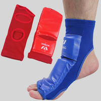 Wholesale Taekwondo ankle support PU foam spats back W Sing strap Athletic player sport safety Kickboxing band