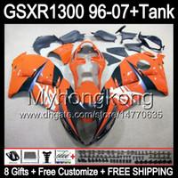 8gift Pour brillant orange SUZUKI Hayabusa GSXR1300 96 97 98 99 00 01 13MY10 GSXR 1300 GSX-R1300 GSX R1300 02 03 04 05 06 07 TOP noir Carénage