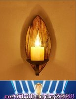american marble - 2017 NEW Wood Art American Loft Style Creative Wall Lamp Coffee House Bar Hotel Marble Candlelight Sconce MYY