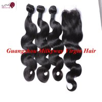 Wholesale 7A Brazilian Malaysian Indian Peruvian Human Hair Exctension Buy Body Wave Hair Weave Get pc Free Lace Closure