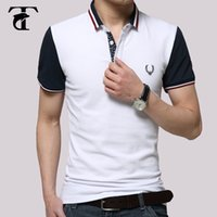 al por mayor polo abajo-Original camisa de manga corta 2016 estilo de Inglaterra Hombre Turn-Down Polo de cuello delgado ajuste 100% algodón Polos Hombre Manga Corta Marca
