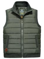 Wholesale Men Winter vest Mens Warm Casual Clothing Men Outwear Winter Zip Vest High Quality Plus Thick Velvet Winter Vest Men