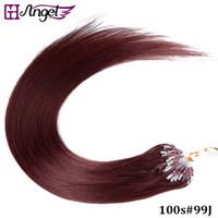 al por mayor 14 extensiones micro del lazo-GH Angel 100s / set 16,18,20,22,26 pulgadas Loop Micro Extensiones de cabello del anillo Remy Extensiones de cabello humano 15 colores disponibles