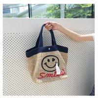 beach hand bags - Korea New Smiling Smile Lady Handbag Straw Hand Tassen Weave Woven Summer Beach Sea Shoulder Bag for Holiday Women Tote Bag