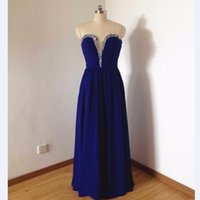 Wholesale Royal blue Sexy Formal Evening Dresses With Crystal Beaded Chiffon Sleeveless Sequins Floor Length Customize Women Dress Gown