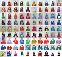 Wholesale 90 Styles cm Double layer Cape with Mask kids cosplay Superhero Capes and Mask for Kids Christmas Halloween Cosplay Prop Costumes