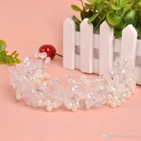alloy faceplate - 2016 Promotion Top Fashion Korean Bride Headdress Frosted Petals Manual Head Faceplate Have A Hoop Pearl Wedding Hair Accessories