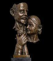 art nouveau bust - Brass Crafted Human Vintage Nouveau Arts indian home decor Abstract Bronze antiques old man and woman busts Golden wedding anniversary bronz