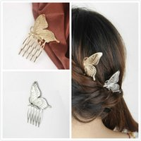 Wholesale Vintage Princess Silver Gold Plated Butterfly Hair Combs Fashion Hair Clips Headwear for Women