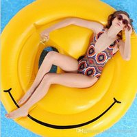Wholesale 160cm Emoji Inflatable Pool Float Lounges Smile Face Inflatable Seat On Pool Toy Float Swimming Water Boat Kickboard Beach Mat