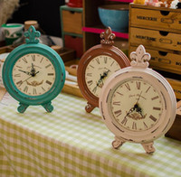 antique wood decor - Retro Style Vintage Shabby Wood Table Clock Home Decor Ornament Three Color