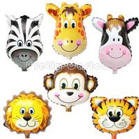 animal safari balloons - 50pcs Safari animal balloon toys for children birthday party decoration giraffe tiger lion monkey foil balloons classic toys