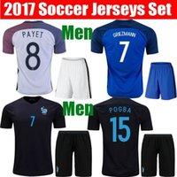 Wholesale Best quality France rd black soccer Jerseys set GRIEZMANN POGBA Running Jersey MARTIAL Giroud Away white Football shirt