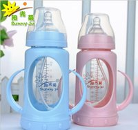 Wholesale Baby glass bottle ml Straw Wide caliber Blue and Pink Baby Bottles baby drop proof dual use bottle