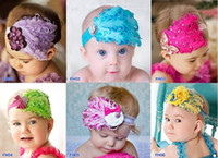 baby bow ornaments - Strechy lace hairband Feather baby hair band Bow tie handicraft hair band Hair ornaments flower hairbands girls elastic bands