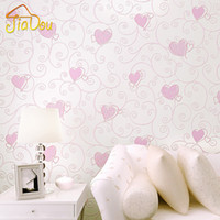 Wholesale D Pink Love Heart Cartoon Princess Girl Room Background Wallpaper Roll D Embossed Flocking Non Woven Kids Wall Covering Paper