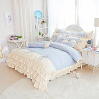 Wholesale oupeidan cotton Country Style Printed The girl cotton quilt cover sheet Lotus leaf lace