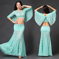 Wholesale 2pcs Belly dance costume Bollywood Costume Indian Woman Belly Dance Sexy Lace Top skirt Stage Performance Oriental Belly Dancing dress D003
