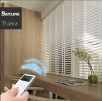 Wholesale MOTORIZED WHITE WOODEN BLINDS Remote Control MADE TO MEASURE CM WIDTH SLATS