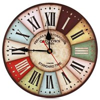 antique french clock - Top Quality Popular Wooden Clock Round Vintage France Paris Colourful French Country Tuscan Style Wood Wall Watch