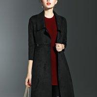 achat en gros de manteaux xxl pour les femmes-Or Mains Femmes Printemps Automne Nouvelle Solid couleur Windbreaker Long Slim Lapel Neck Manteau Mode Vêtements Dames Trench Coats Livraison gratuite