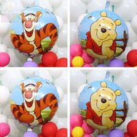 ball bearings suppliers - Double side inch Round shape Cute Tiger Bear foil balloons Happy birthday party decortation supplier balls