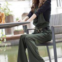 Wholesale 2017 Spring New Pattern Wide Leg Two Piece Paper Suit European Lin Tai Autumn Pants Trousers Woman Even Underwear Easy Thin Tassel