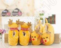 Wholesale Elk Deer Shape Cartoon Slippers Winter Warm Non slip Indoor Home Cotton Wrap Heel Slippers Christmas Gift Soft Shoes OOA920
