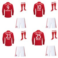 Wholesale 1617 Home Long Sleeve Soccer Jerseys Hot Soccer Uniforms ROBBEN LAHM MULLER Football Shirts Shorts Socks Camisetas De Futbol