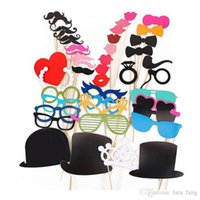 Photo Booth Props beard pictures - 2016 Rushed Baby Shower Diy Mask Photo Booth Props Set Funny Mustache Beards Red Lips Costume Fun Pictures Wedding Birthday Party Christmas